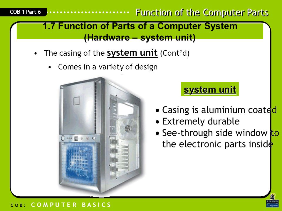1.7 Function of Parts of a Computer System (Hardware – system unit)