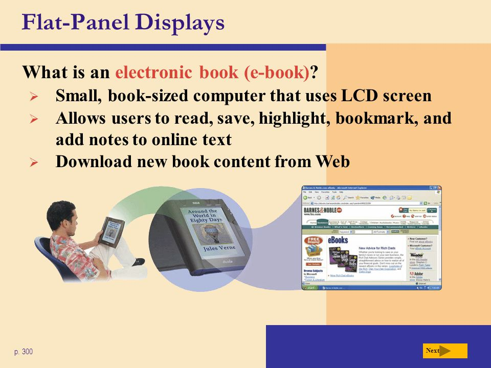 Flat-Panel Displays What is an electronic book (e-book)
