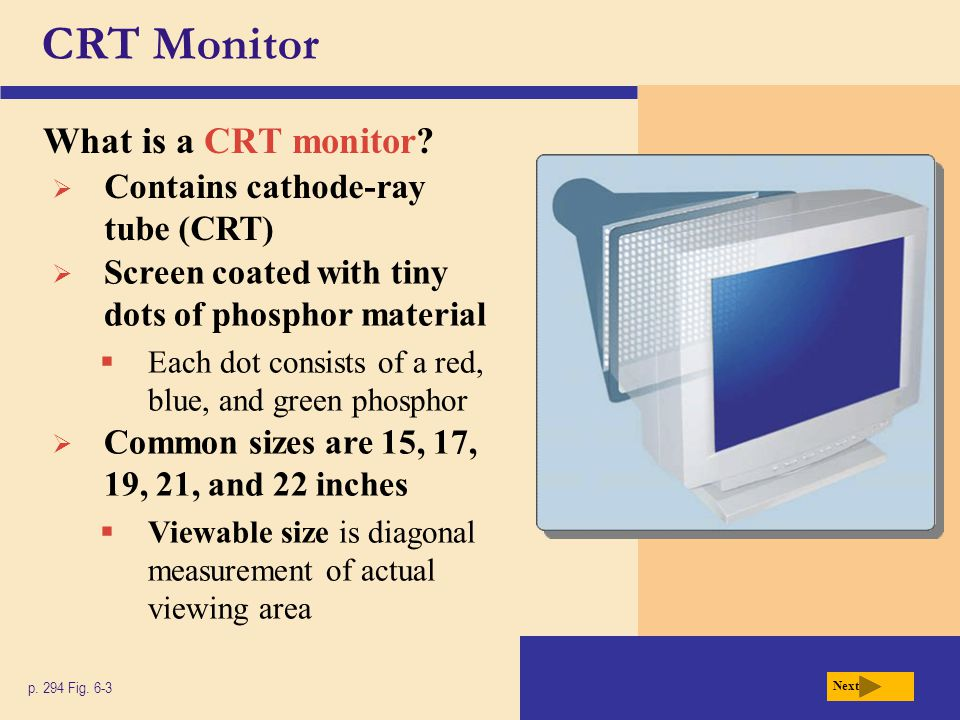 CRT Monitor What is a CRT monitor Contains cathode-ray tube (CRT)