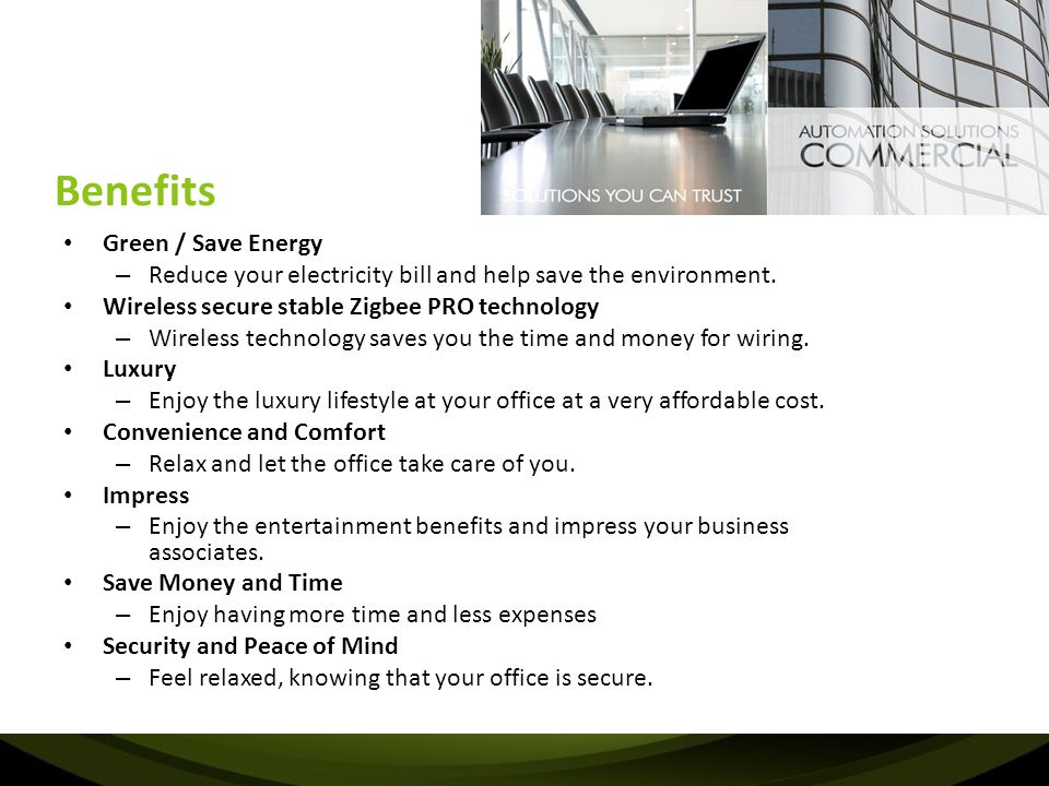 Benefits Green / Save Energy