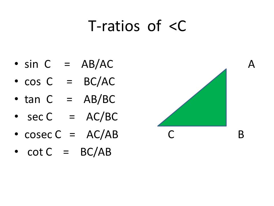 T-ratios of <C sin C = AB/AC A cos C = BC/AC tan C = AB/BC