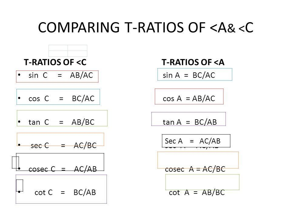 COMPARING T-RATIOS OF <A& <C