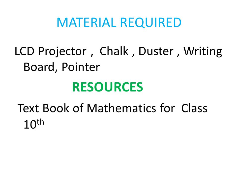 Text Book of Mathematics for Class 10th
