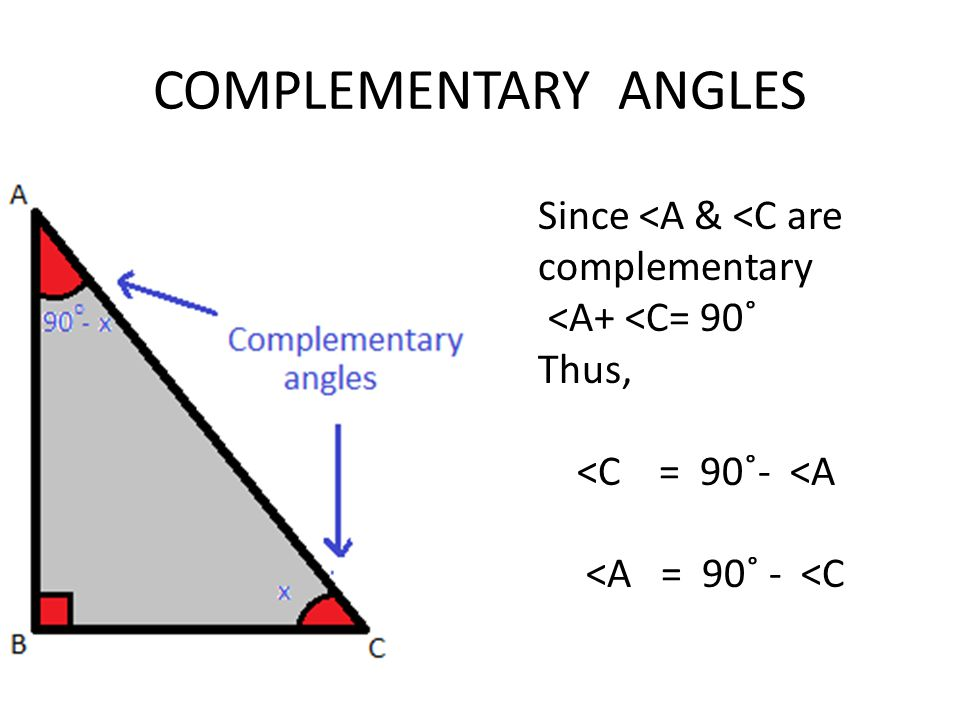 COMPLEMENTARY ANGLES Since <A & <C are complementary