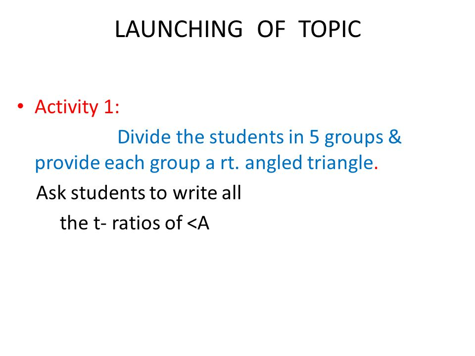 LAUNCHING OF TOPIC Activity 1: