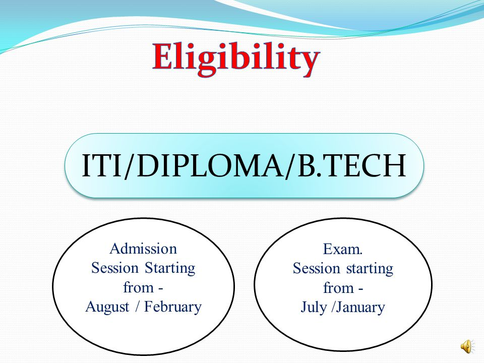 Eligibility ITI/DIPLOMA/B.TECH Admission Session Starting from - Exam.