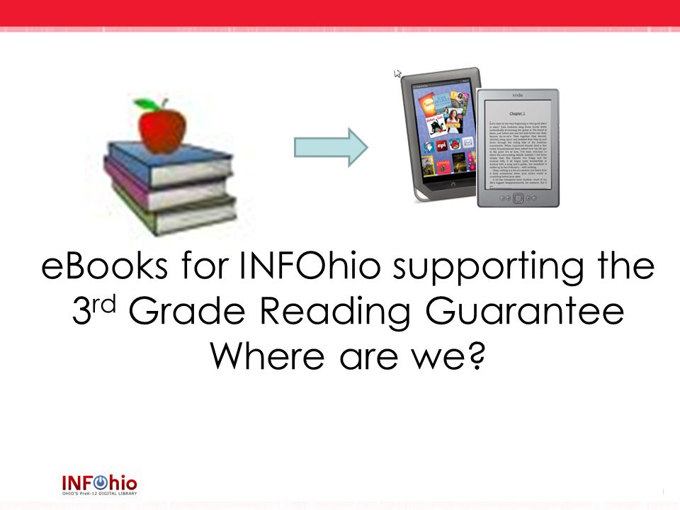 eBooks for INFOhio supporting the 3rd Grade Reading Guarantee Where are we
