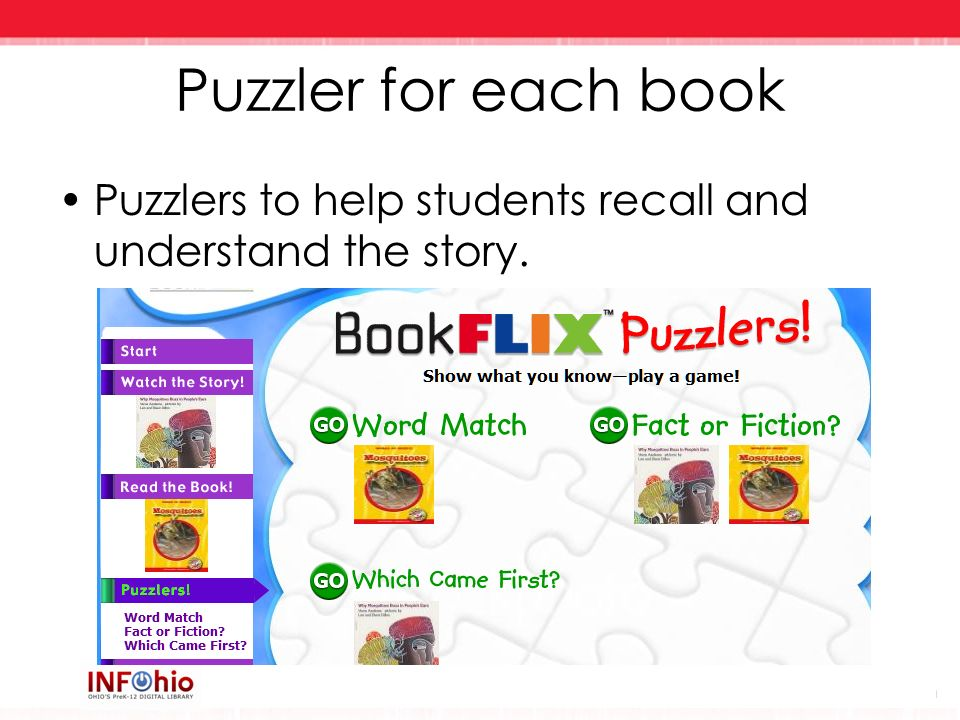 Puzzler for each book Puzzlers to help students recall and understand the story.
