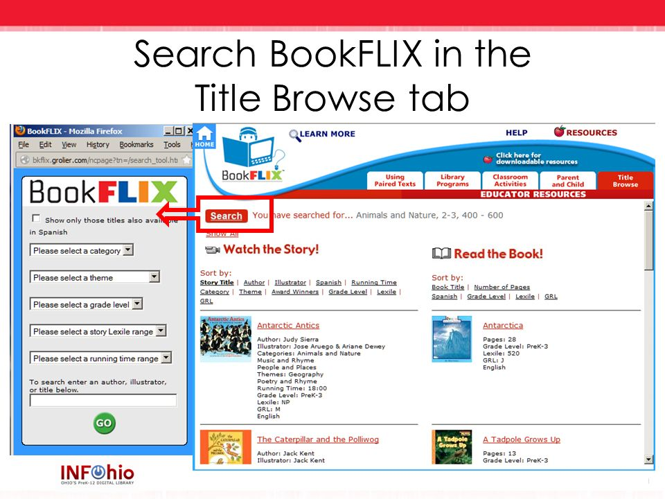 Search BookFLIX in the Title Browse tab