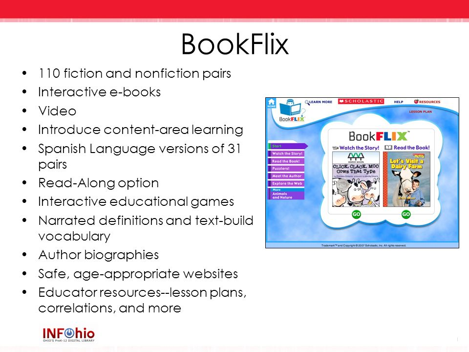 BookFlix 110 fiction and nonfiction pairs Interactive e-books Video