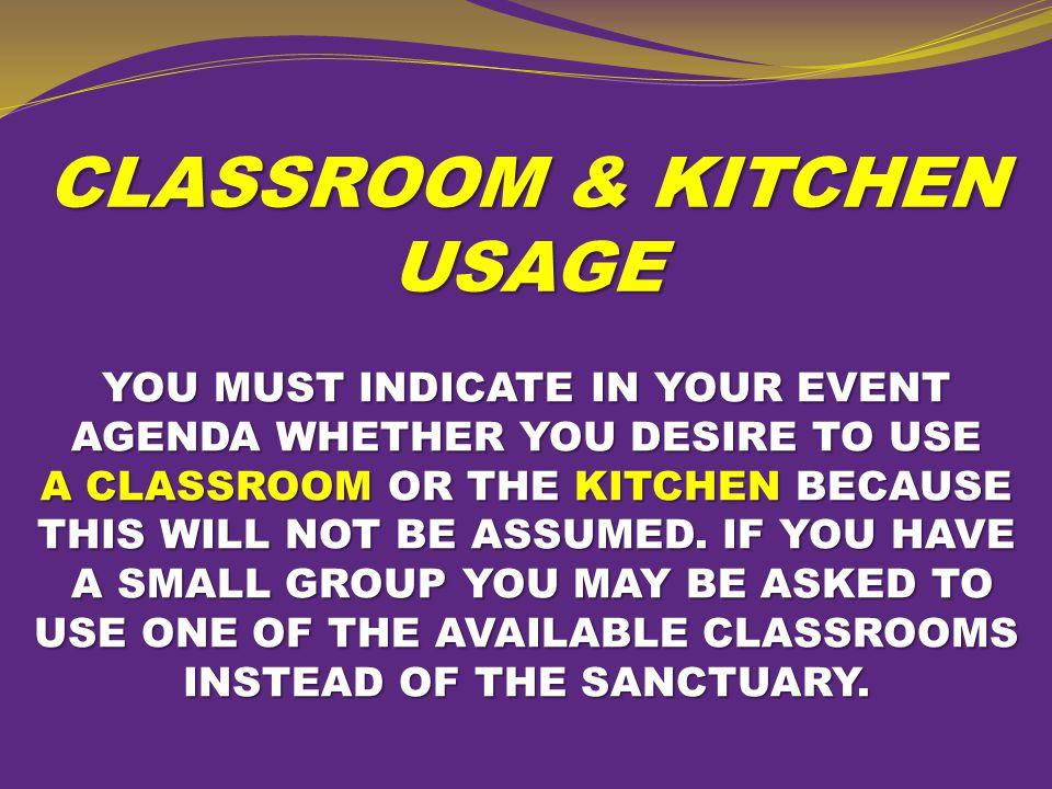 CLASSROOM & KITCHEN USAGE