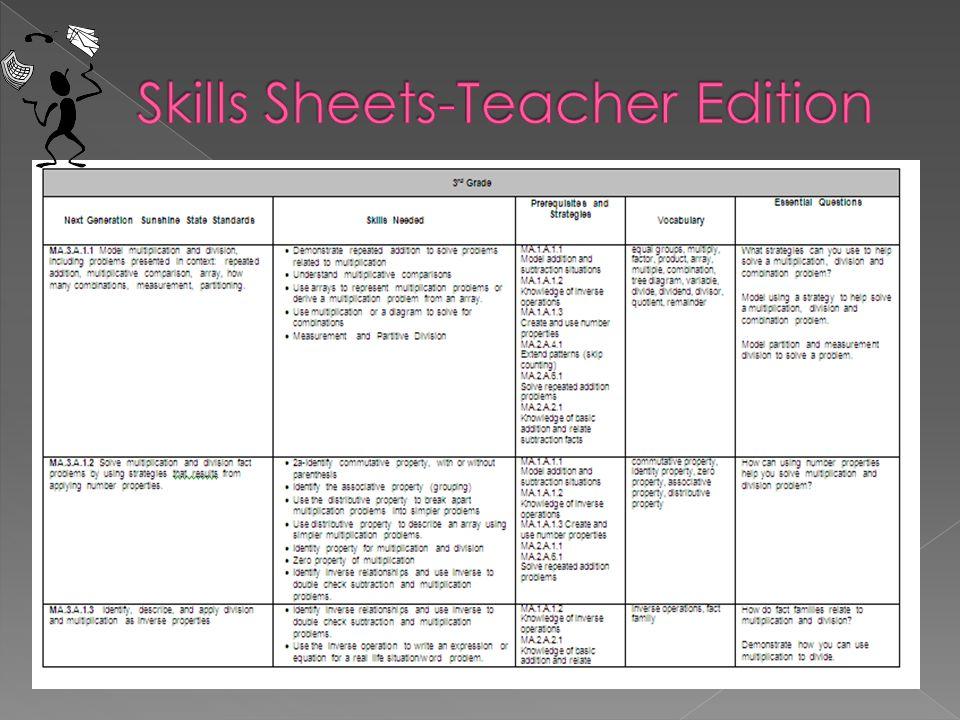 Skills Sheets-Teacher Edition