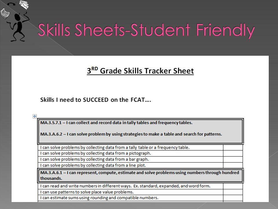 Skills Sheets-Student Friendly