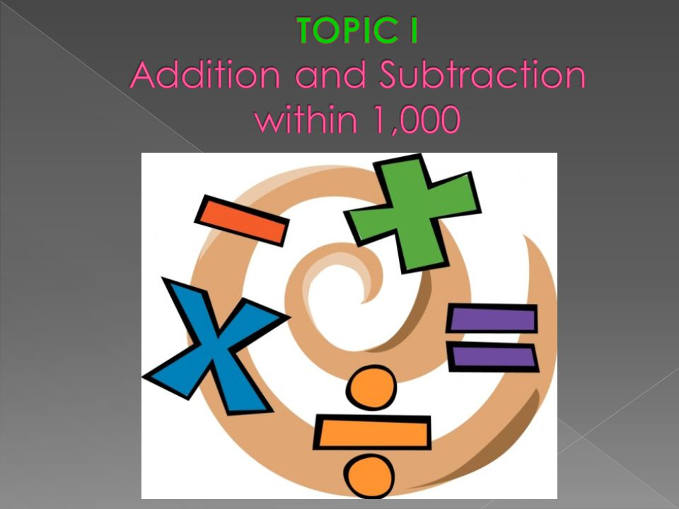 TOPIC I Addition and Subtraction within 1,000