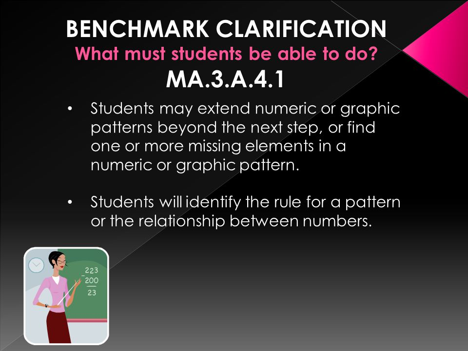 BENCHMARK CLARIFICATION What must students be able to do