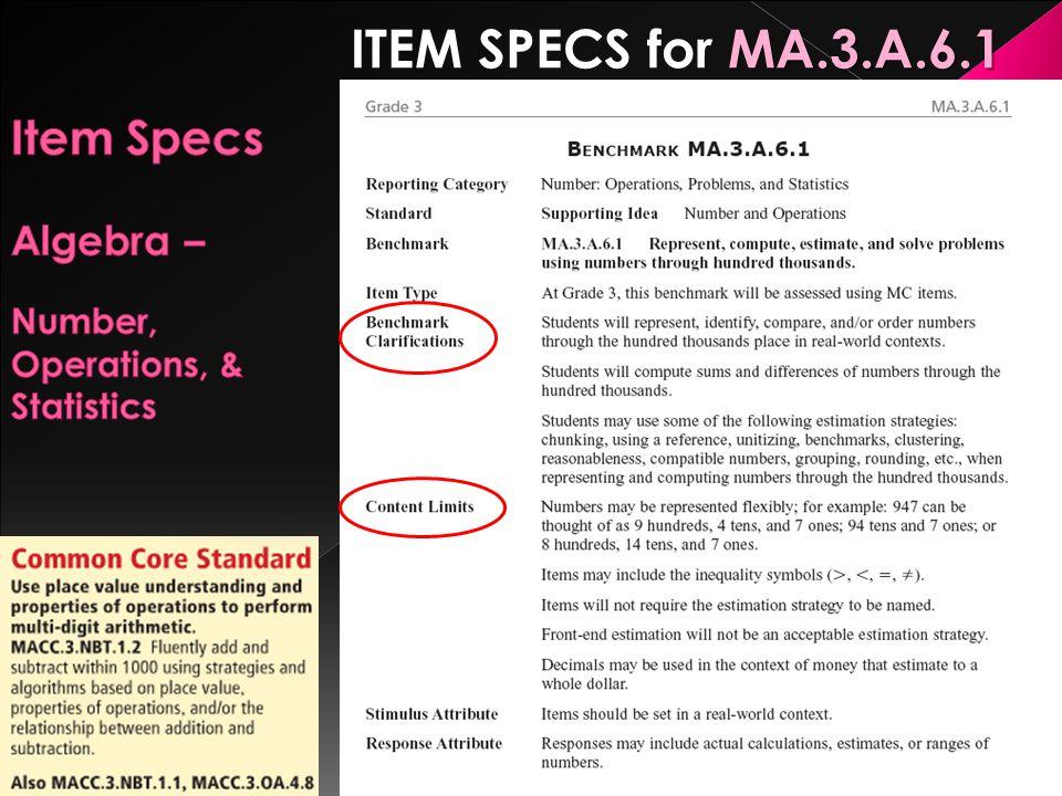 Item Specs Algebra – Number, Operations, & Statistics