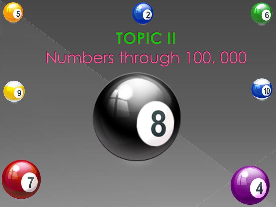 TOPIC II Numbers through 100, 000