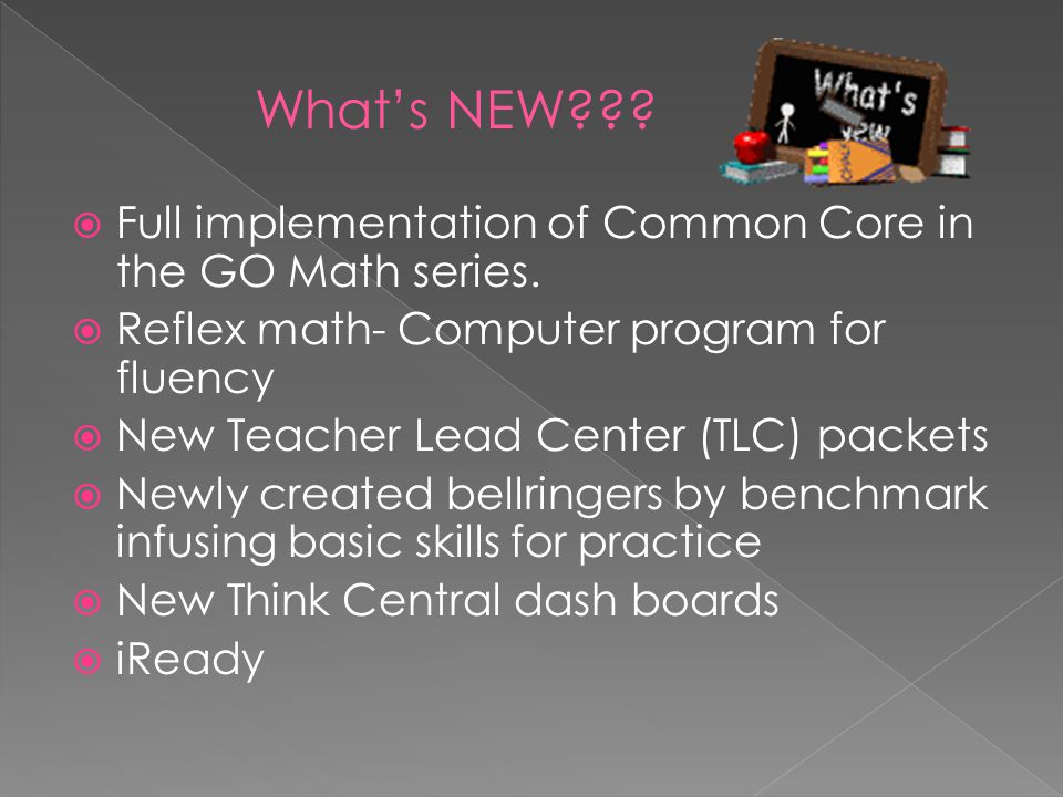 What's NEW Full implementation of Common Core in the GO Math series. Reflex math- Computer program for fluency.