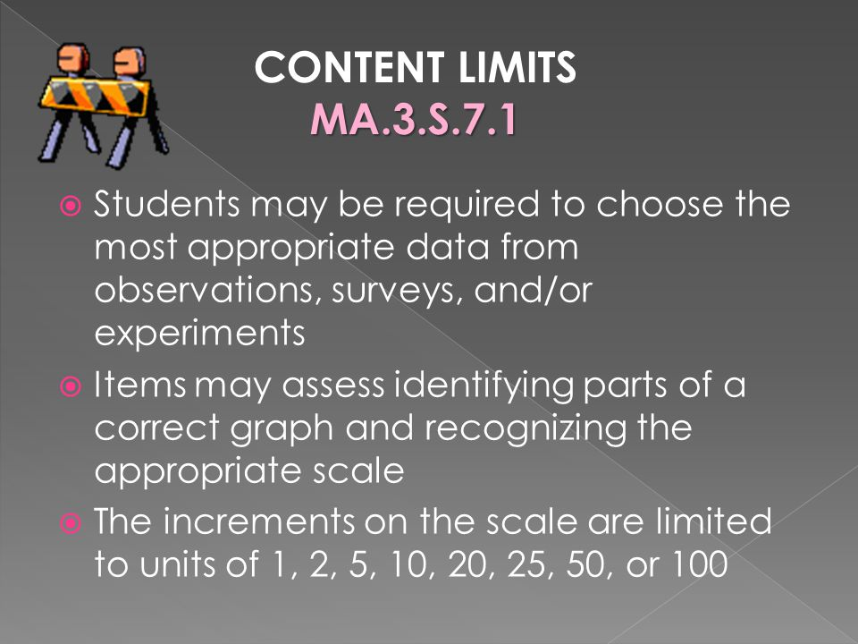 CONTENT LIMITS MA.3.S.7.1. Students may be required to choose the most appropriate data from observations, surveys, and/or experiments.