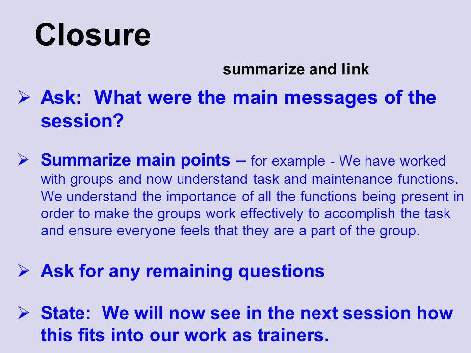 Closure summarize and link