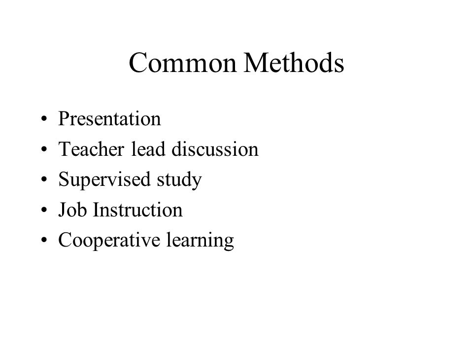 Common Methods Presentation Teacher lead discussion Supervised study