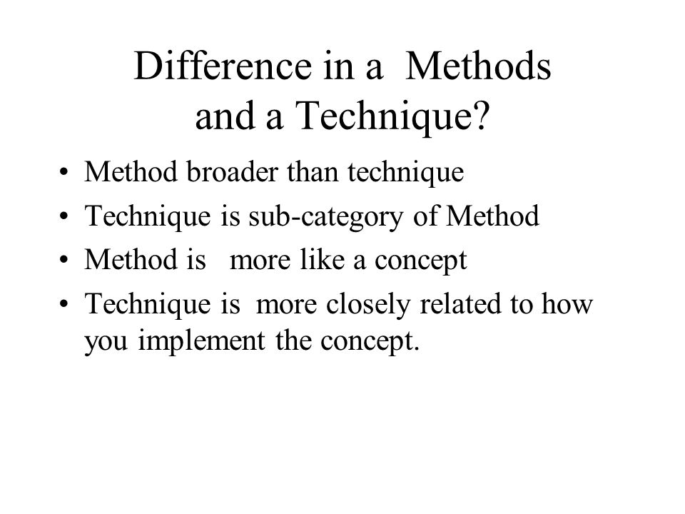 Difference in a Methods and a Technique