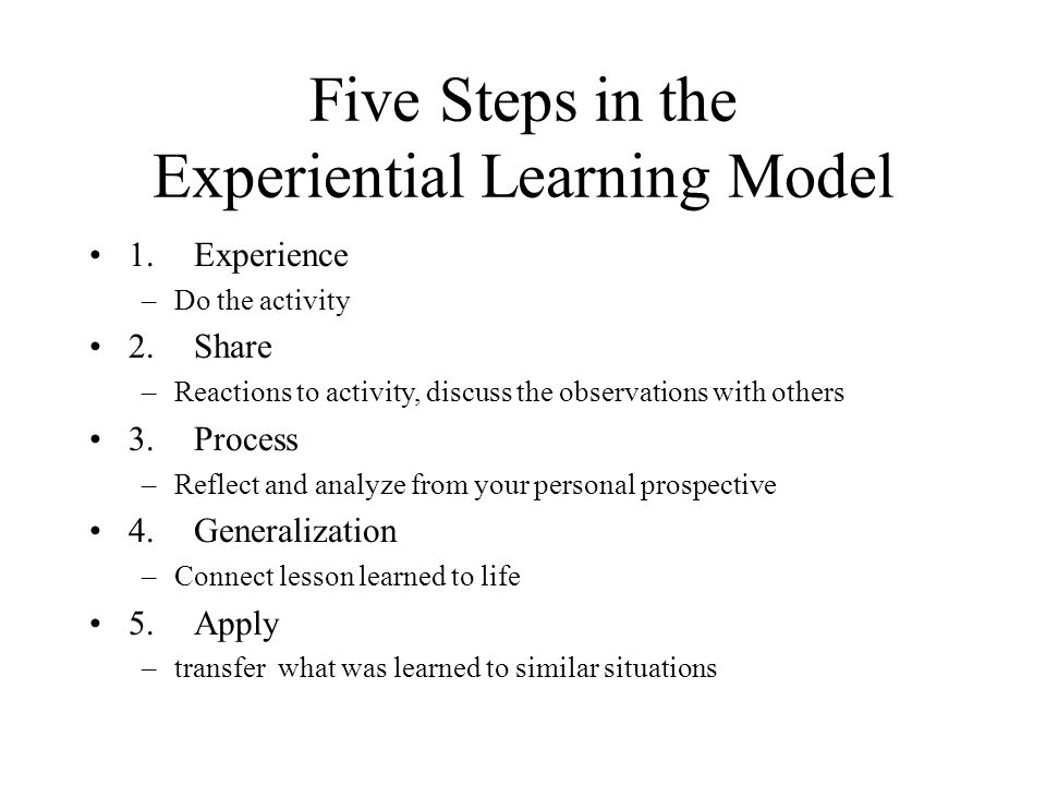 Five Steps in the Experiential Learning Model