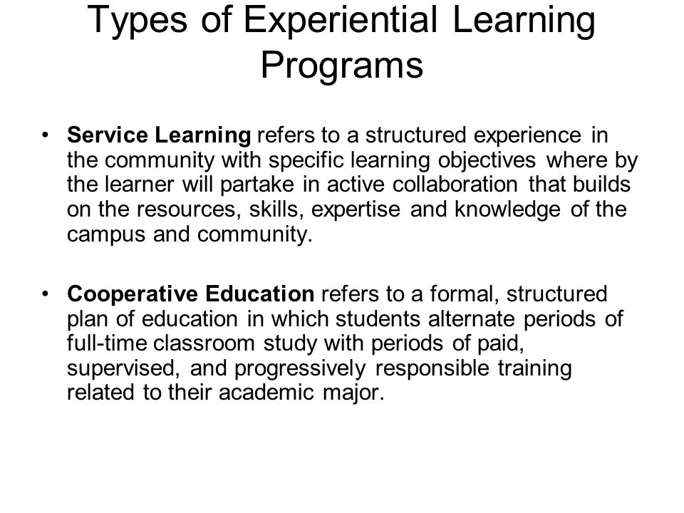 Types of Experiential Learning Programs