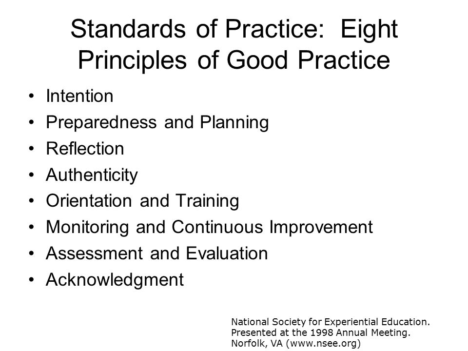 Standards of Practice: Eight Principles of Good Practice