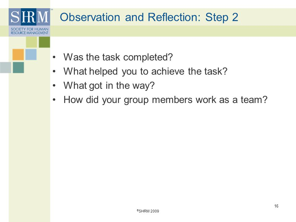 Observation and Reflection: Step 2