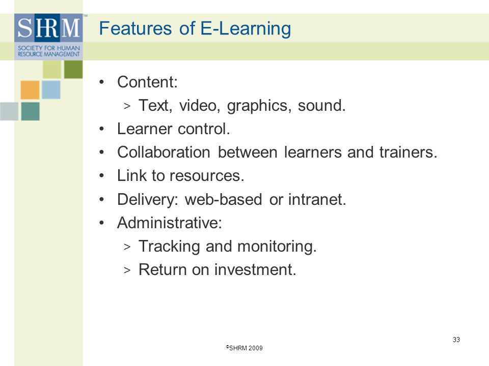 Features of E-Learning