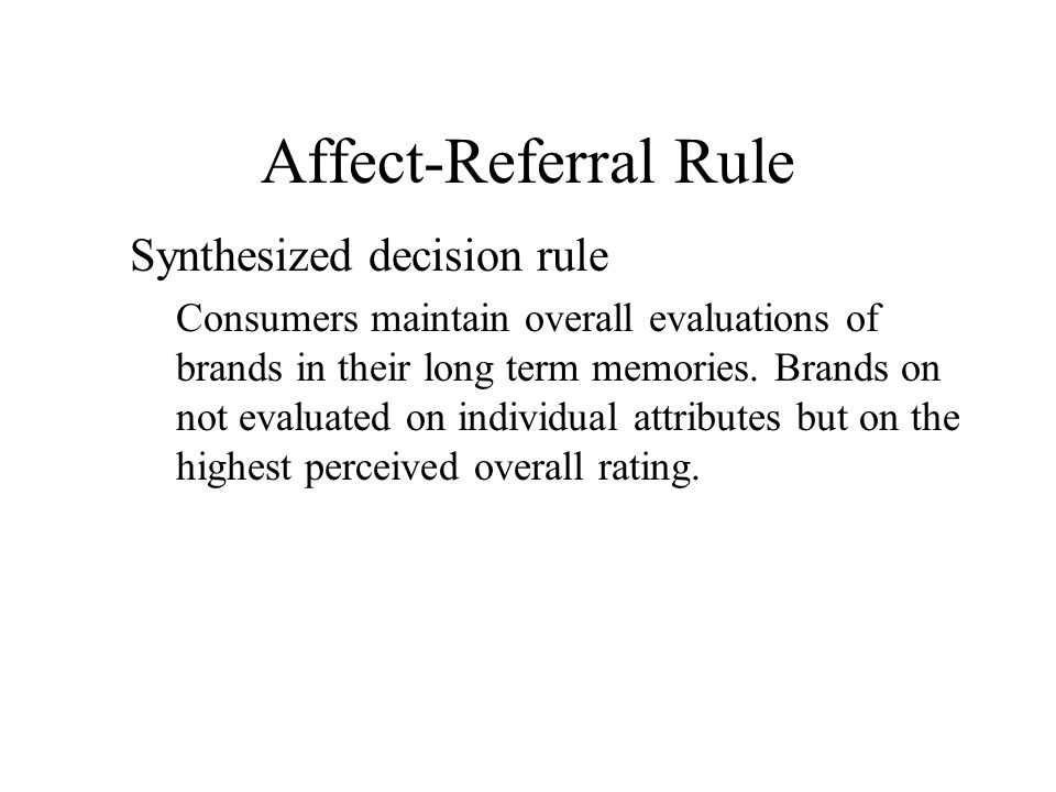 Affect-Referral Rule Synthesized decision rule