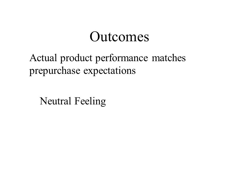 Outcomes Actual product performance matches prepurchase expectations
