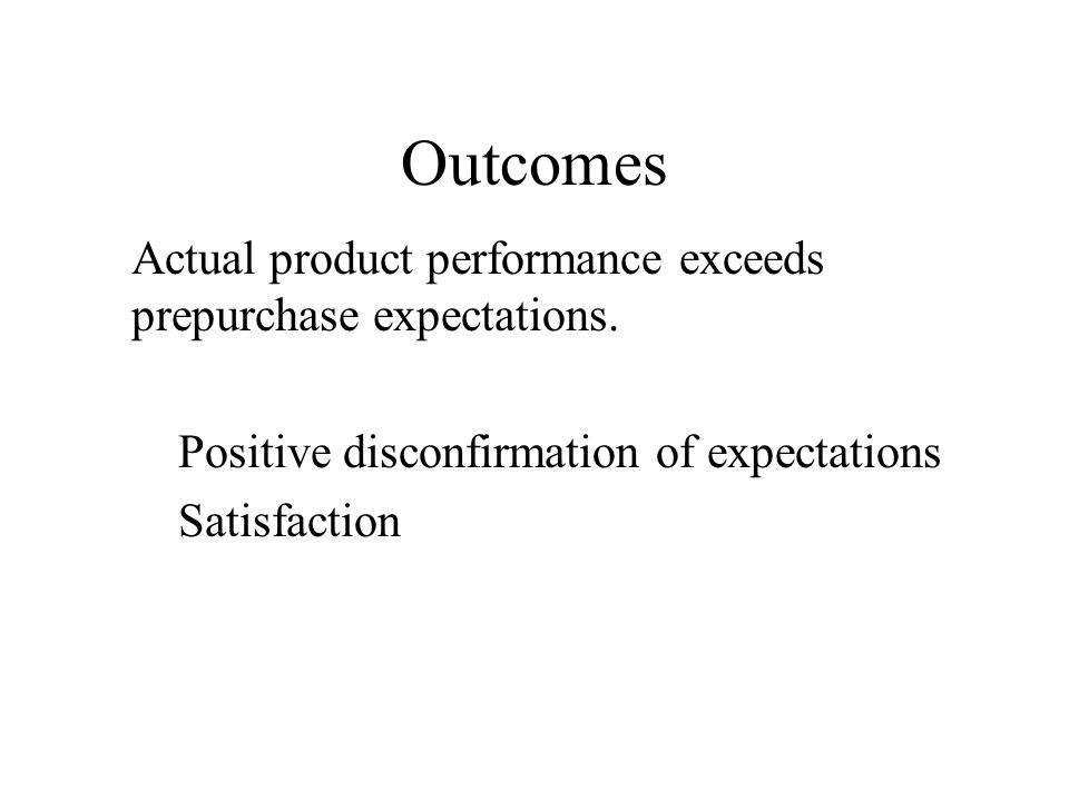 Outcomes Actual product performance exceeds prepurchase expectations.