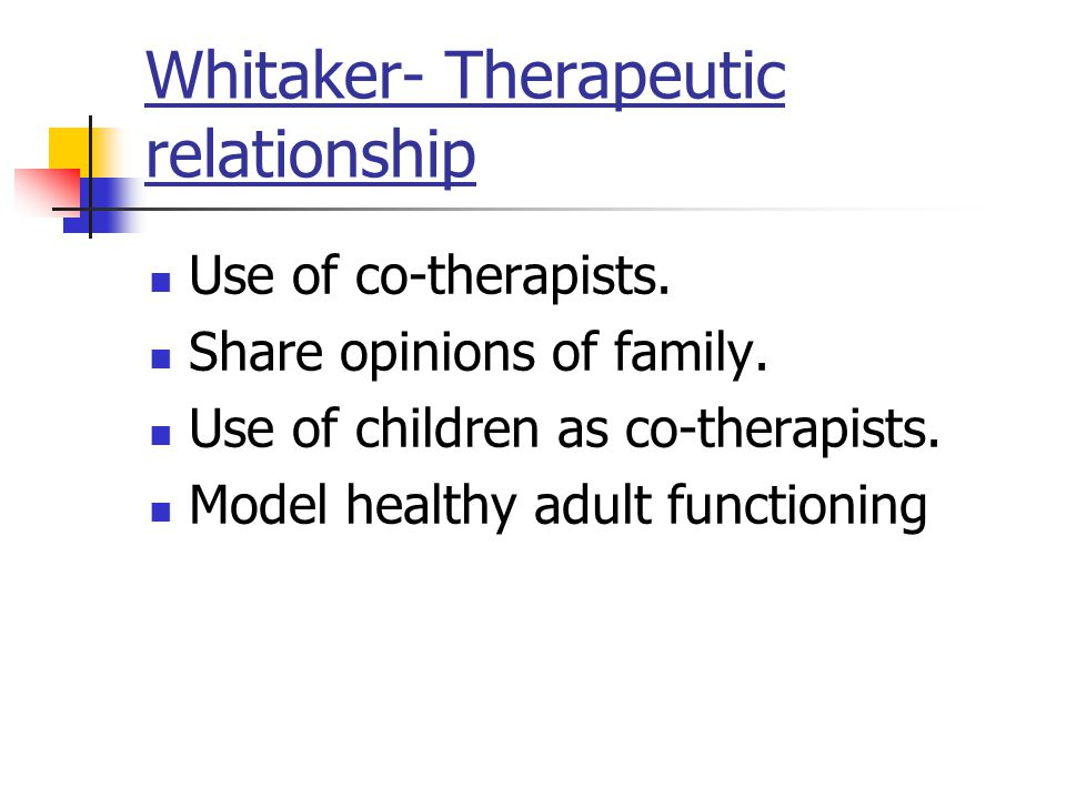 Whitaker- Therapeutic relationship