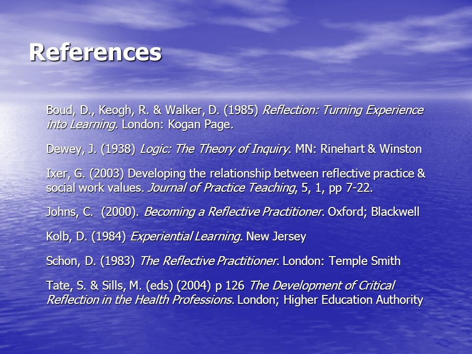 References Boud, D., Keogh, R. & Walker, D. (1985) Reflection: Turning Experience into Learning. London: Kogan Page.