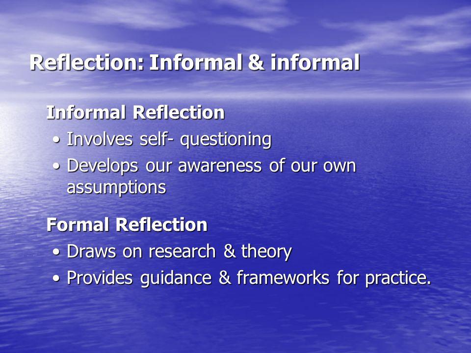 Reflection: Informal & informal
