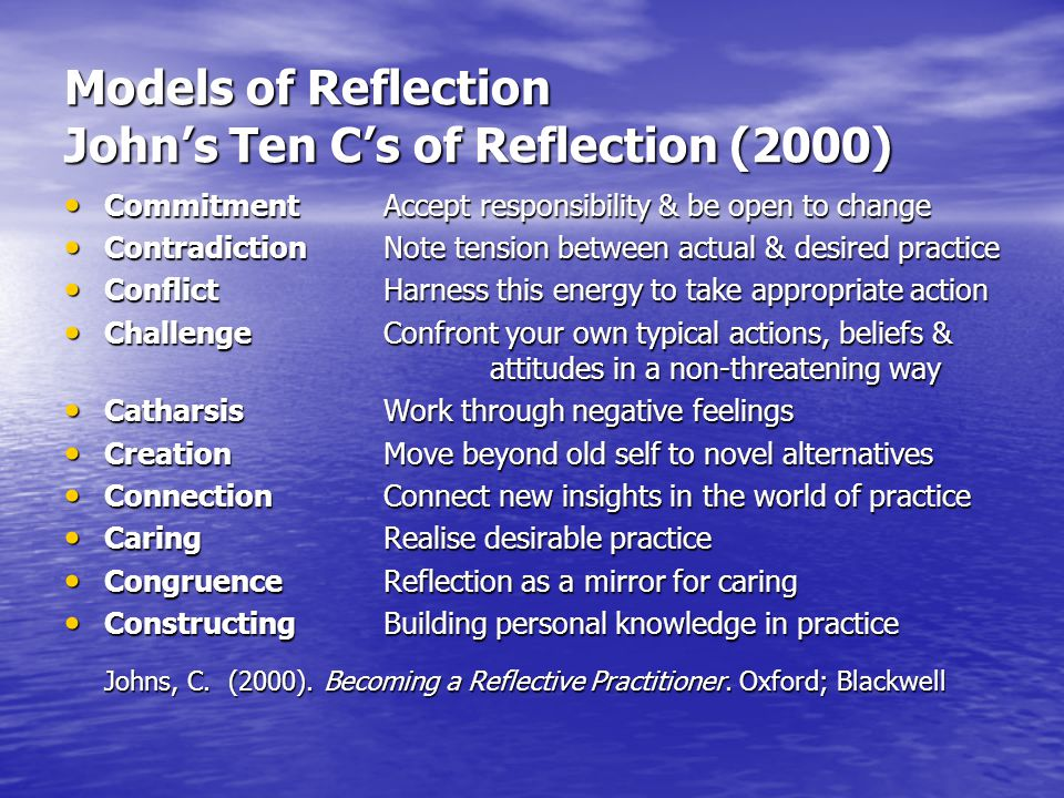 Models of Reflection John's Ten C's of Reflection (2000)
