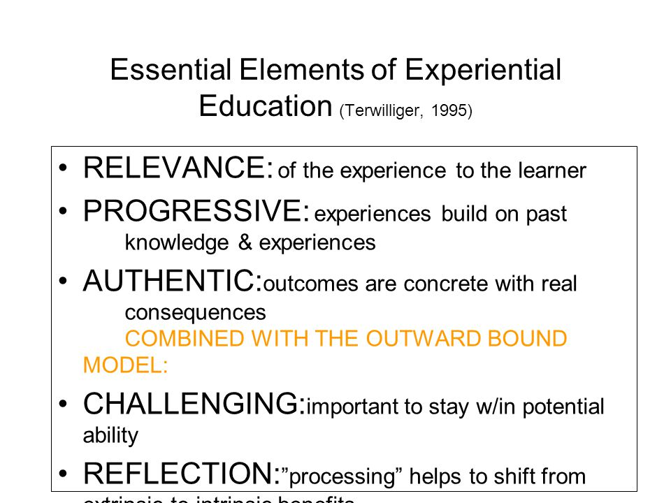 Essential Elements of Experiential Education (Terwilliger, 1995)