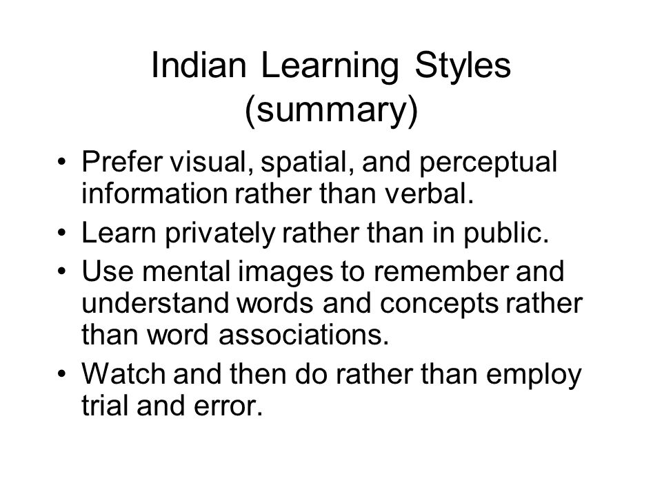 Indian Learning Styles (summary)