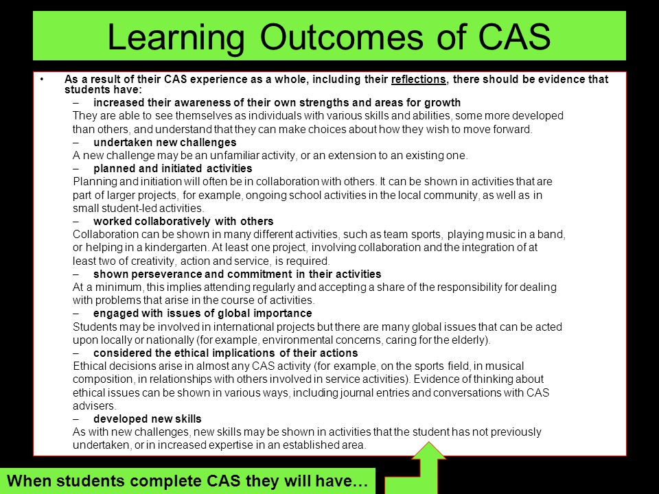 Learning Outcomes of CAS