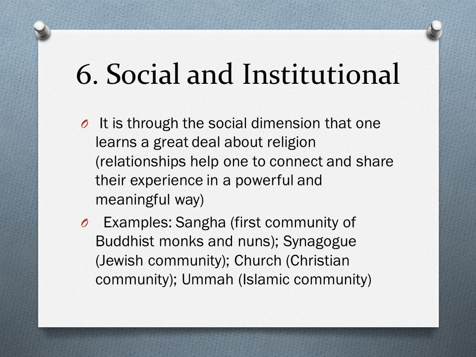 6. Social and Institutional