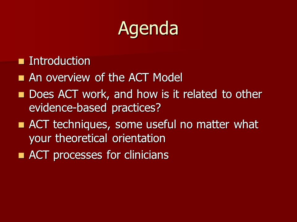 Agenda Introduction An overview of the ACT Model