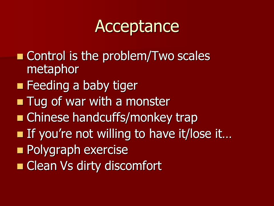 Acceptance Control is the problem/Two scales metaphor