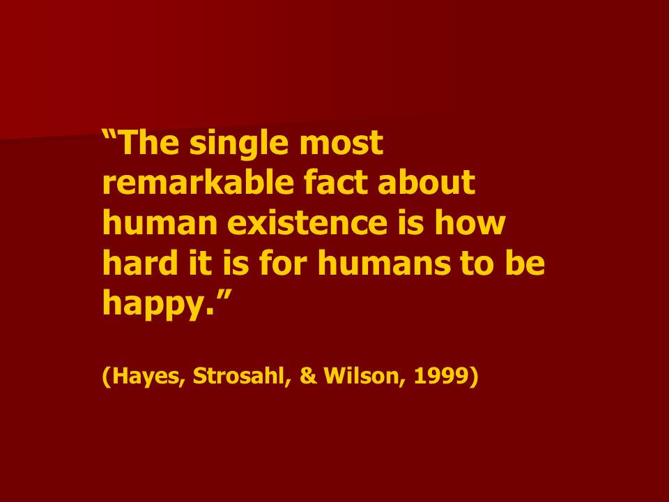 The single most remarkable fact about human existence is how hard it is for humans to be happy.