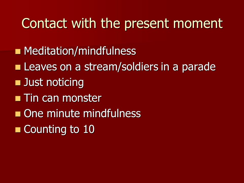 Contact with the present moment