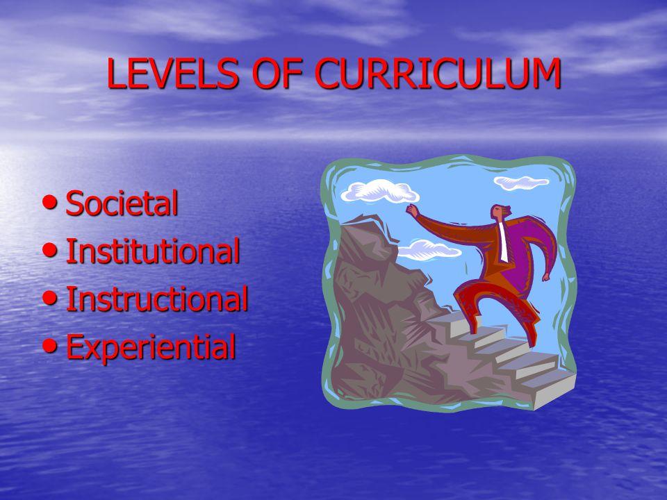 LEVELS OF CURRICULUM Societal Institutional Instructional Experiential