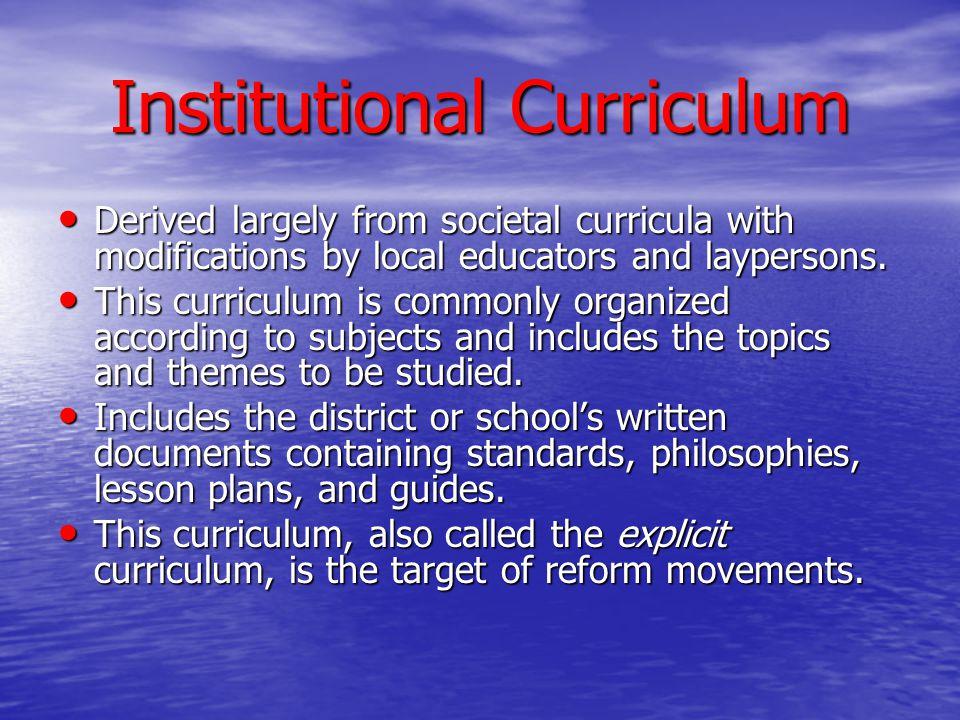 Institutional Curriculum