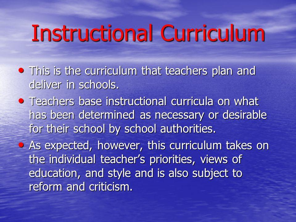 Instructional Curriculum