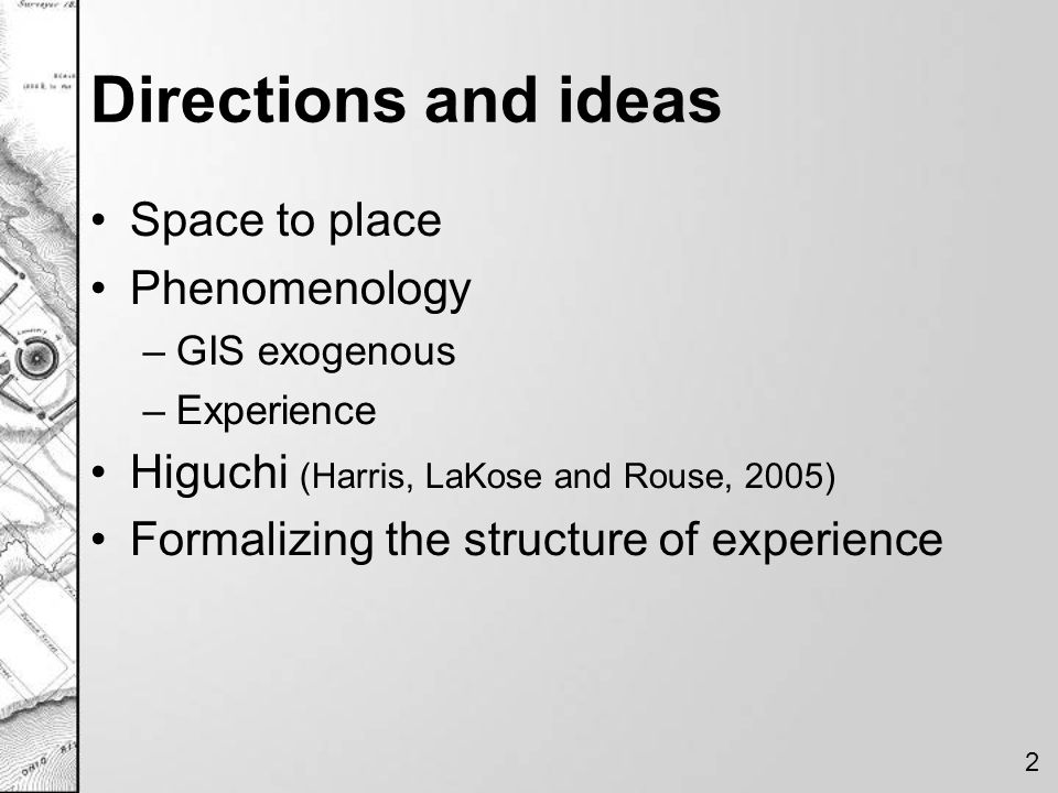 Directions and ideas Space to place Phenomenology